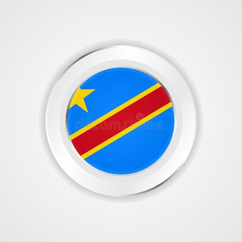 Флаг Конго в лоснистом значке иллюстрация вектора