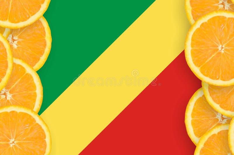 Флаг Конго в рамке кусков цитрусовых фруктов вертикальной иллюстрация вектора