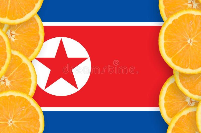 Флаг Корейской Северной Кореи в рамке кусков цитрусовых фруктов вертикальной иллюстрация штока