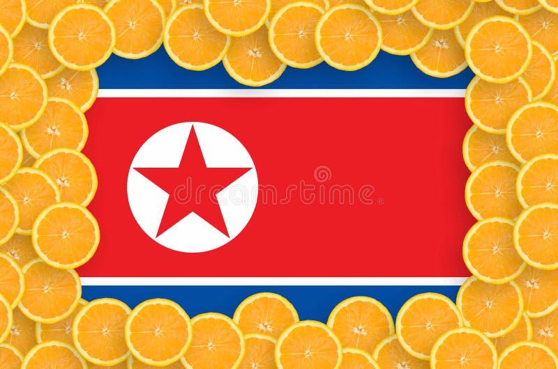 Флаг Корейской Северной Кореи в свежей рамке кусков цитрусовых фруктов иллюстрация вектора