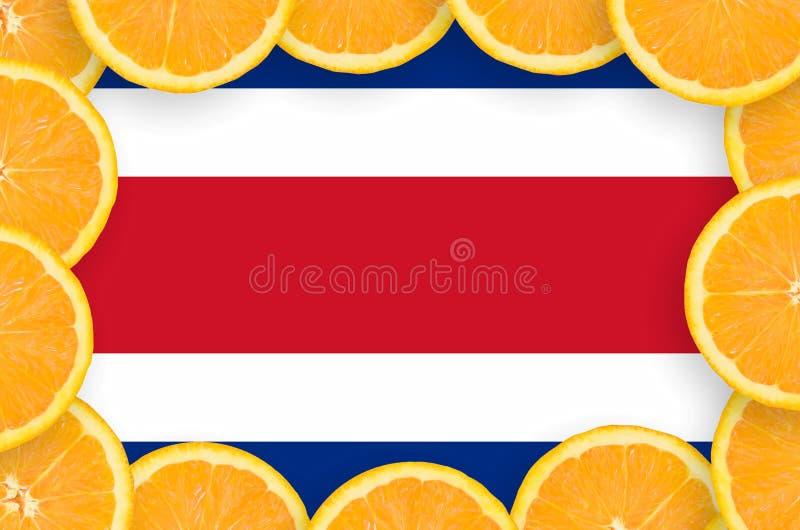 Флаг Коста-Рика в свежей рамке кусков цитрусовых фруктов бесплатная иллюстрация