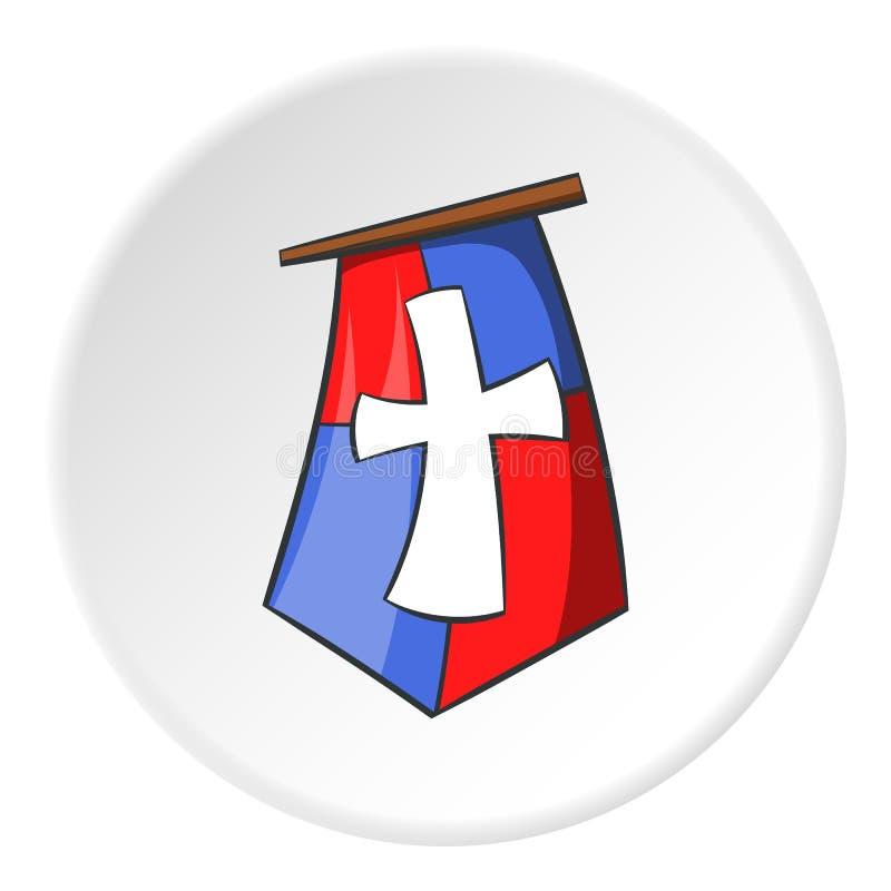Флаг крестоносцев значка, стиля шаржа иллюстрация штока