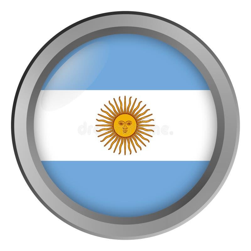 Флаг круга Аргентины как кнопка иллюстрация вектора