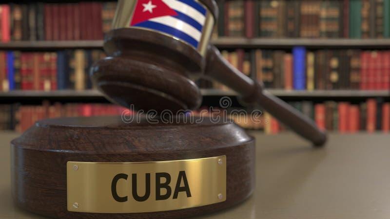 Флаг Кубы на молотке судей в суде Национальные правосудие или подсудность связали схематический перевод 3D иллюстрация штока