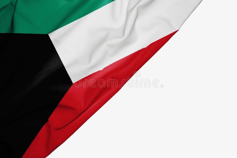 Флаг Кувейта ткани с copyspace для вашего текста на белой предпосылке иллюстрация штока