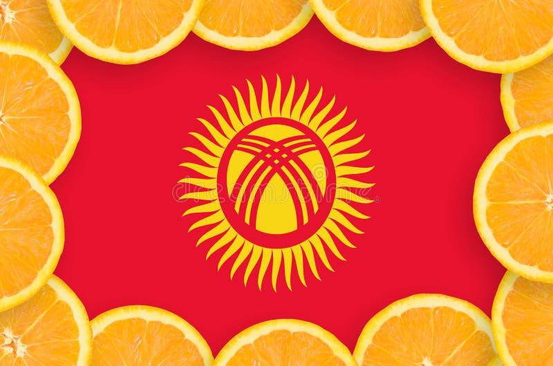 Флаг Кыргызстана в свежей рамке кусков цитрусовых фруктов иллюстрация вектора