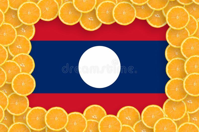 Флаг Лаоса в свежей рамке кусков цитрусовых фруктов иллюстрация вектора