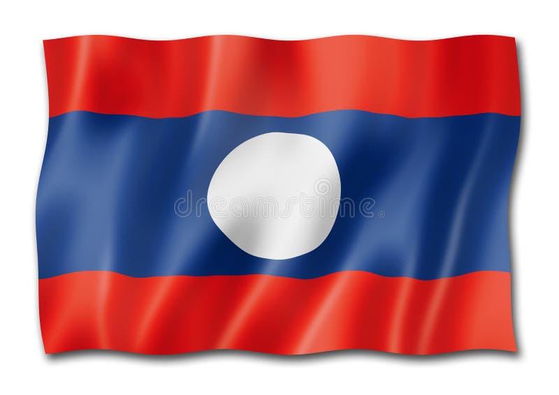 Флаг Лаоса изолированный на белизне иллюстрация штока