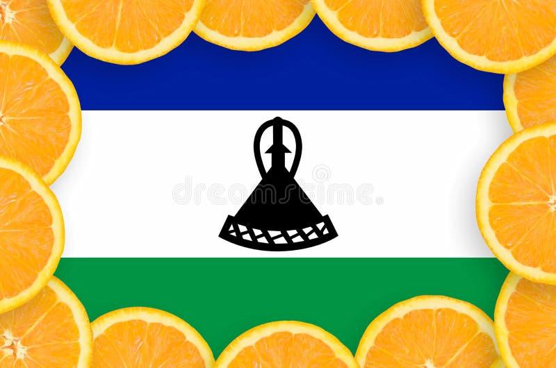 Флаг Лесото в свежей рамке кусков цитрусовых фруктов иллюстрация штока