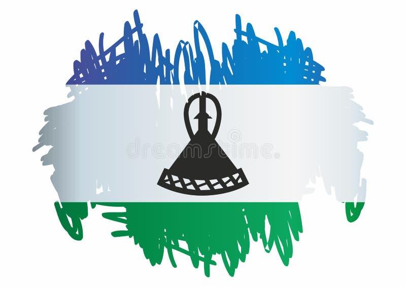 Флаг Лесото, королевства Лесото Шаблон для дизайна награды, служебный документ с флагом Лесото иллюстрация штока