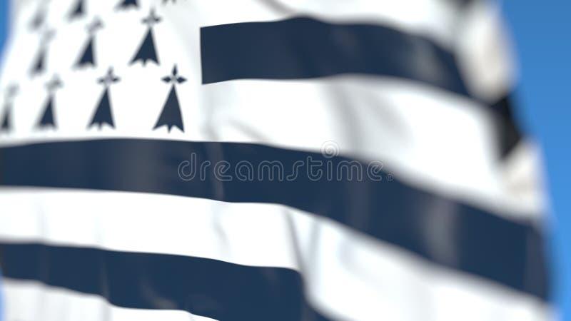 Флаг летая Бретань, региона Франции Конец-вверх, перевод 3D бесплатная иллюстрация