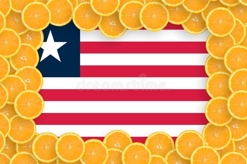 Флаг Либерии в свежей рамке кусков цитрусовых фруктов иллюстрация штока