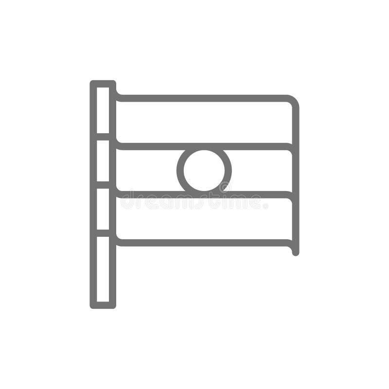 Флаг линии значка Индии иллюстрация вектора
