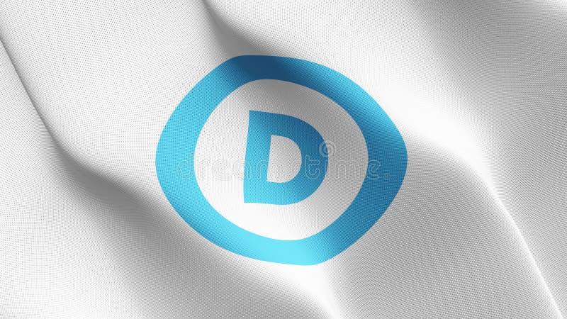 Флаг логотипа Демократической партии Соединенных Штатов развевая на ветре иллюстрация штока