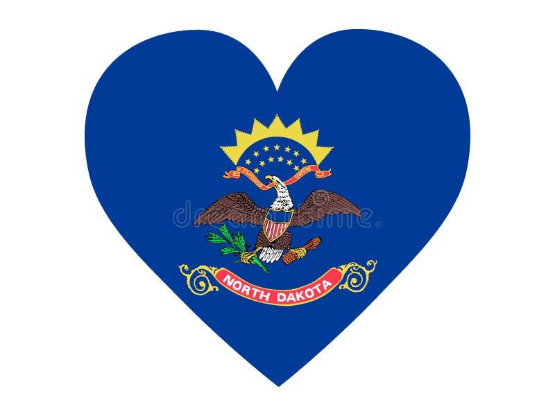 Флаг любов государства США Северной Дакоты иллюстрация штока