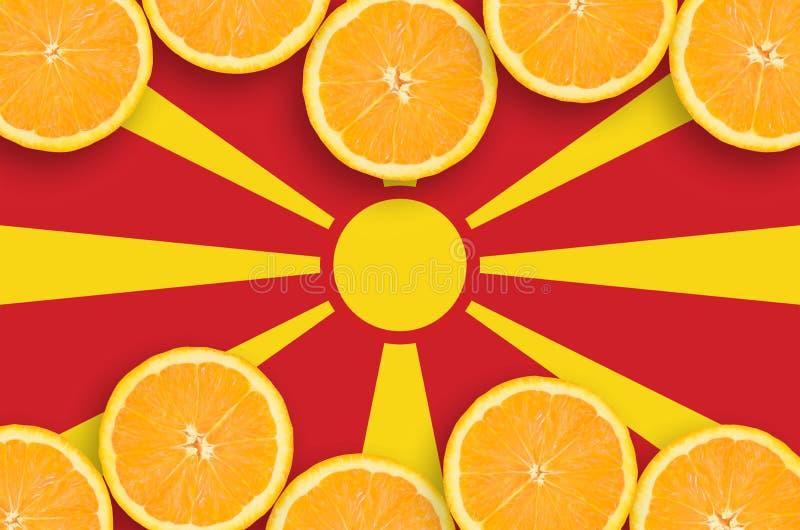 Флаг Македонии в рамке кусков цитрусовых фруктов горизонтальной стоковые изображения