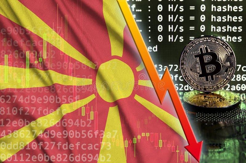 Флаг Македонии и падая красная стрелка на экране bitcoin минируя и 2 физических золотых bitcoins иллюстрация вектора