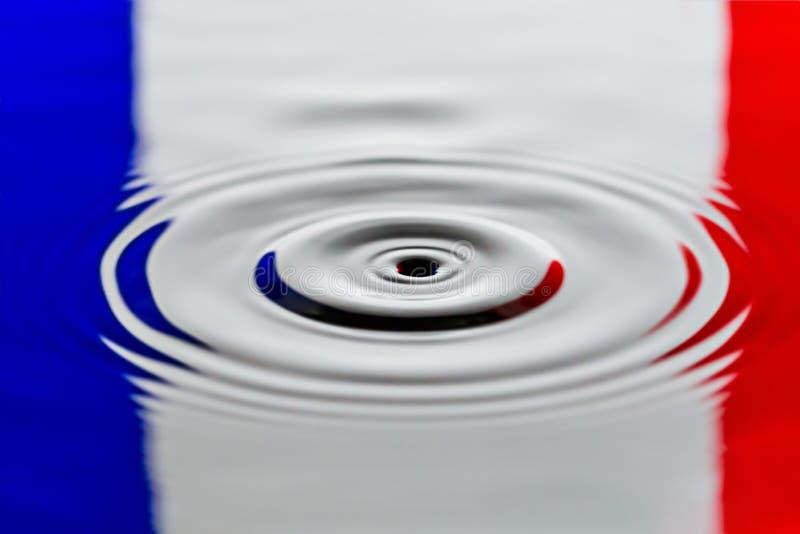 Флаг макроса конца потека воды Франции страны стоковые изображения rf
