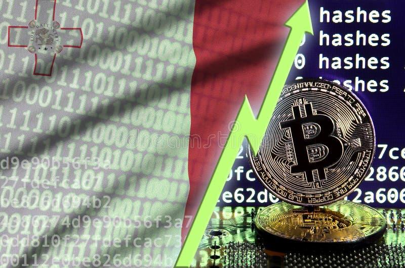 Флаг Мальты и поднимая зеленая стрелка на экране bitcoin минируя и 2 физических золотых bitcoins бесплатная иллюстрация