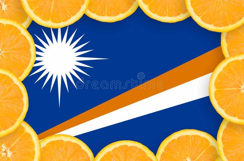 Флаг Маршалловых Островов в свежей рамке кусков цитрусовых фруктов бесплатная иллюстрация
