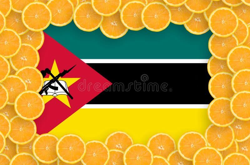 Флаг Мозамбика в свежей рамке кусков цитрусовых фруктов иллюстрация вектора