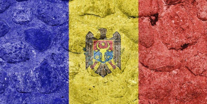 Флаг Молдавии на каменной стене иллюстрация вектора