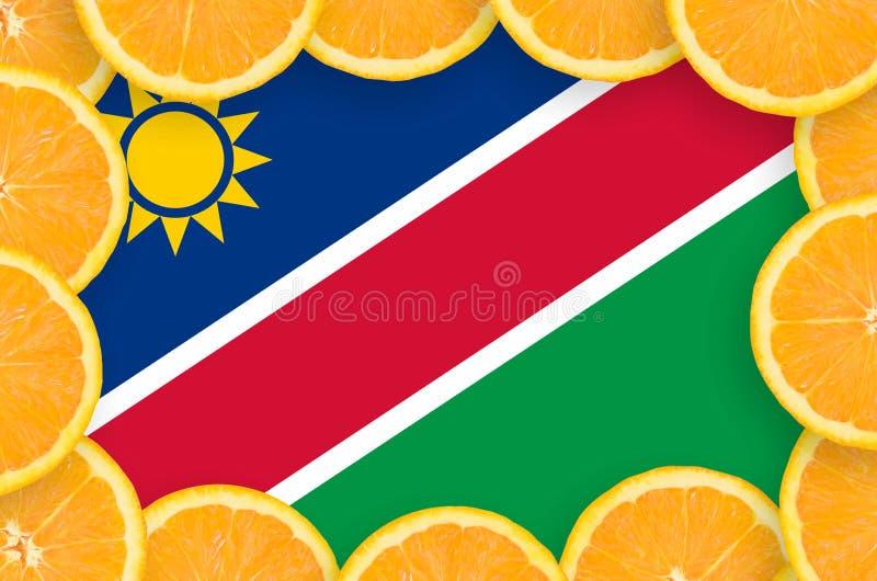 Флаг Намибии в свежей рамке кусков цитрусовых фруктов иллюстрация штока