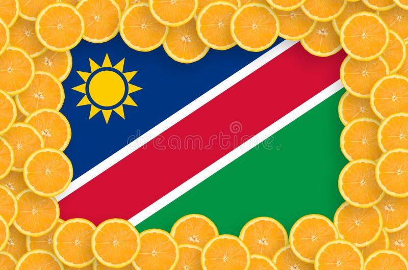 Флаг Намибии в свежей рамке кусков цитрусовых фруктов иллюстрация вектора