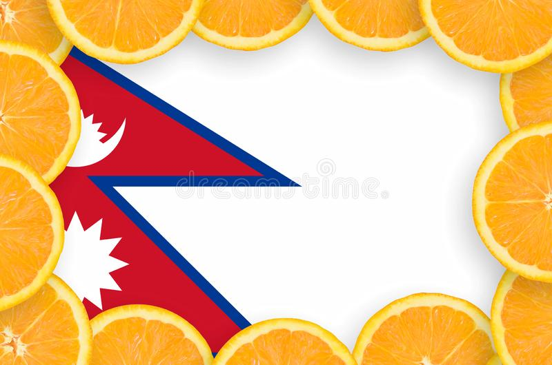 Флаг Непала в свежей рамке кусков цитрусовых фруктов иллюстрация штока