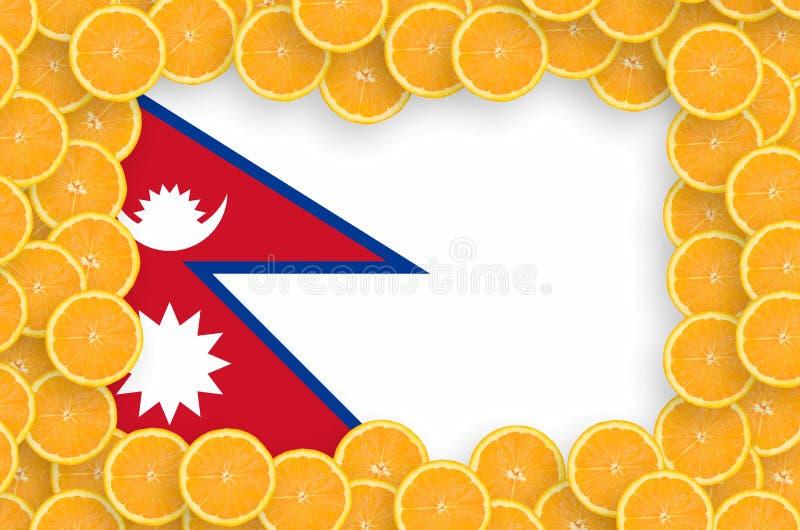Флаг Непала в свежей рамке кусков цитрусовых фруктов бесплатная иллюстрация