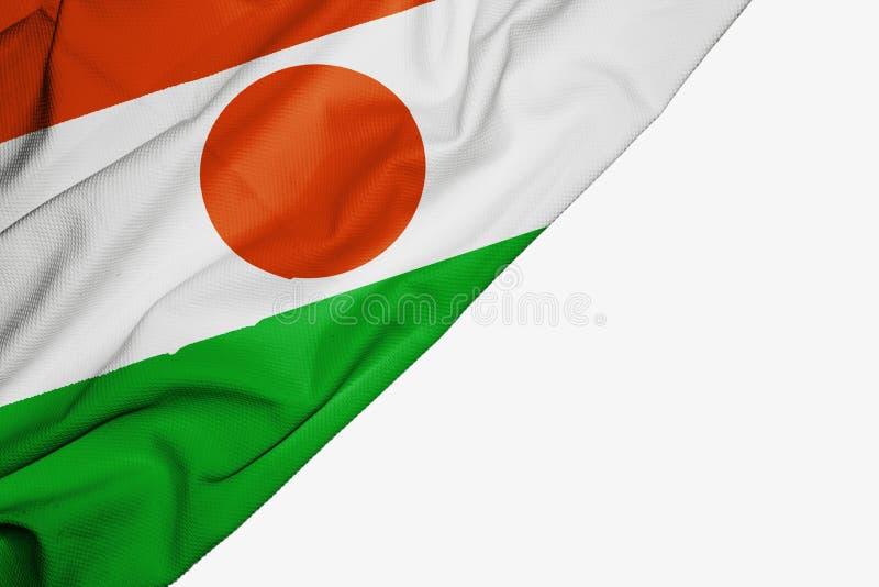 Флаг Нигера ткани с copyspace для вашего текста на белой предпосылке иллюстрация штока
