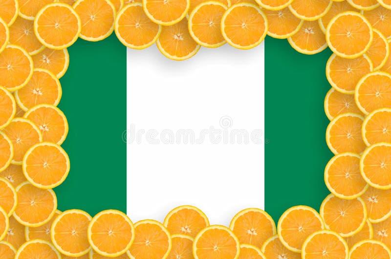 Флаг Нигерии в свежей рамке кусков цитрусовых фруктов бесплатная иллюстрация