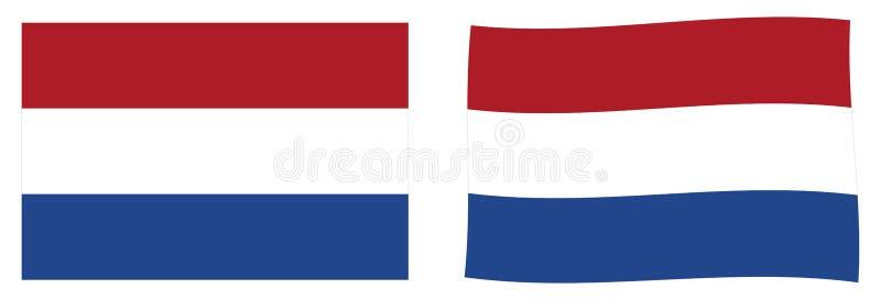 Флаг Нидерланд Голландии Простая и немножко развевая версия бесплатная иллюстрация