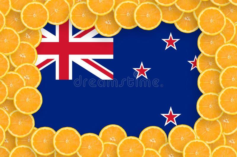 Флаг Новой Зеландии в свежей рамке кусков цитрусовых фруктов иллюстрация штока