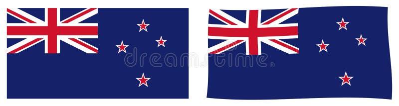 Флаг Новой Зеландии Простая и немножко развевая версия иллюстрация вектора