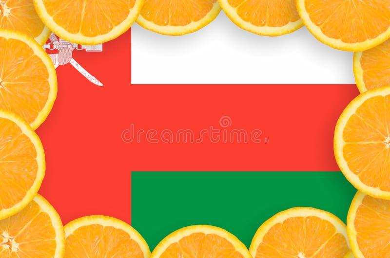 Флаг Омана в свежей рамке кусков цитрусовых фруктов иллюстрация штока