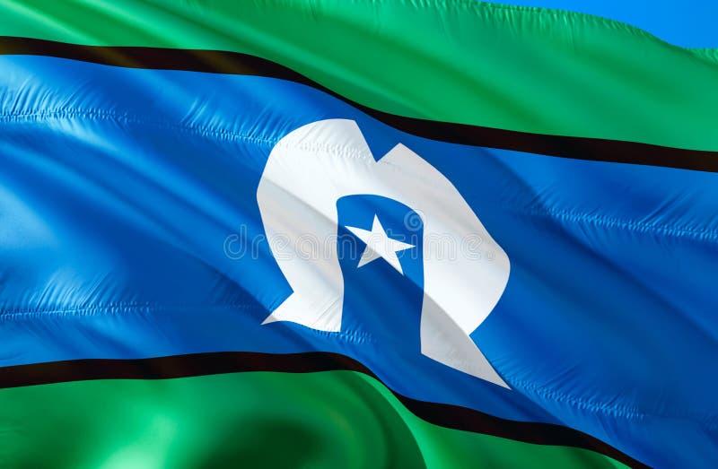 Флаг островитянин пролива Torres развевая дизайн флага 3D Национальный символ островитянин пролива Torres, перевод 3D Национально стоковые изображения rf