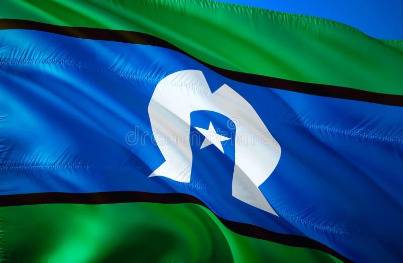 Флаг островитянин пролива Torres развевая дизайн флага 3D Национальный символ островитянин пролива Torres, перевод 3D E стоковые изображения rf