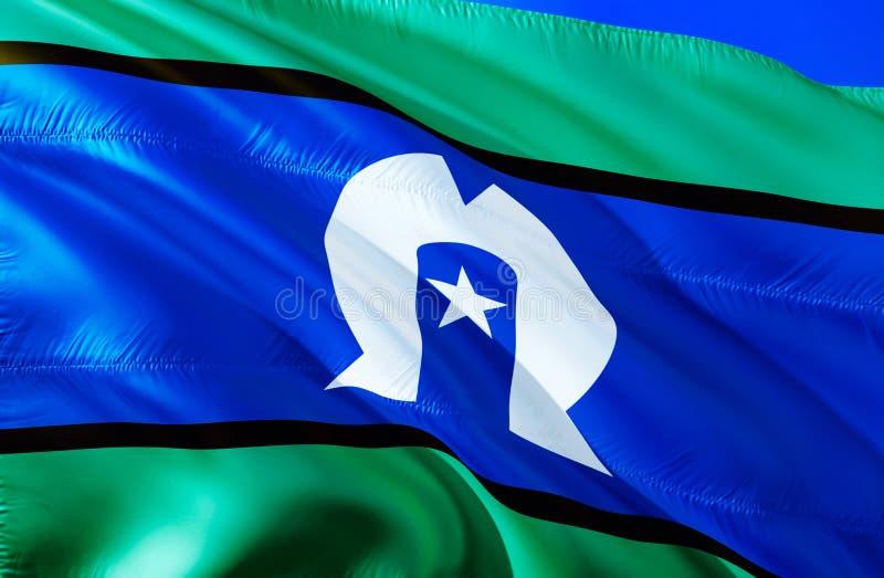 Флаг островитянин пролива Torres развевая дизайн флага 3D Национальный символ островитянин пролива Torres, перевод 3D красит соот стоковая фотография