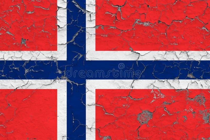 Флаг Островов Буве покрашенных на треснутой грязной стене Национальная картина на винтажной поверхности стиля стоковое фото