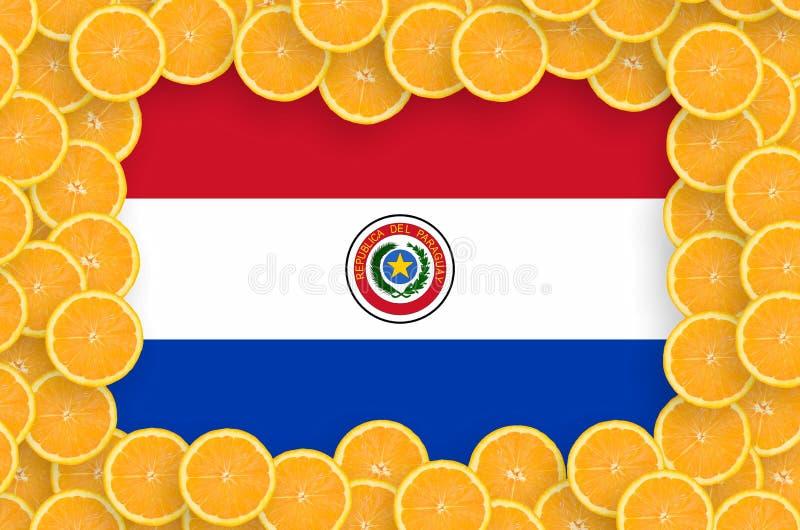 Флаг Парагвая в свежей рамке кусков цитрусовых фруктов бесплатная иллюстрация