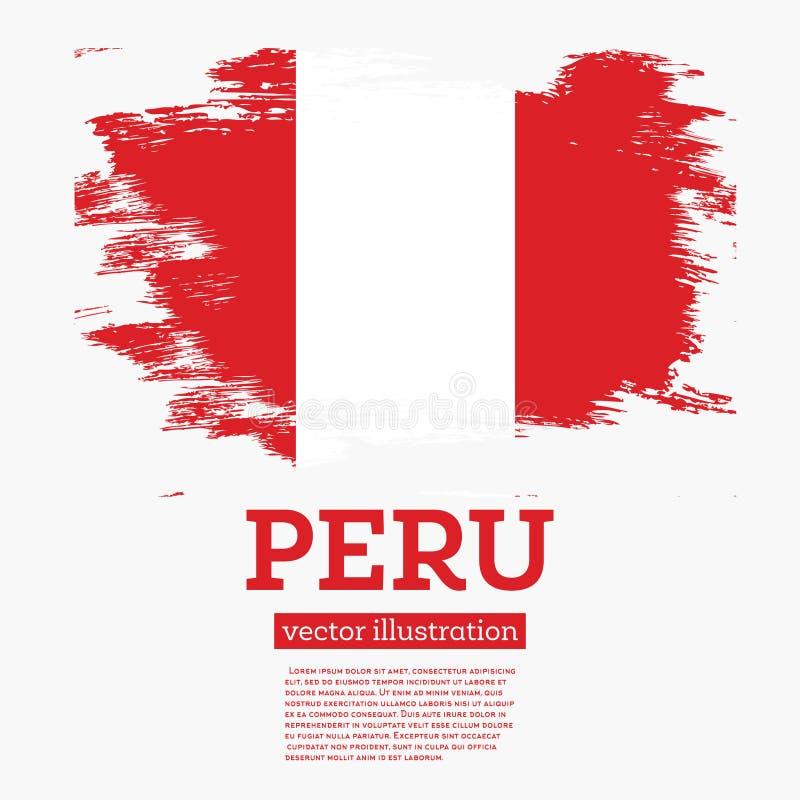 Флаг Перу с ходами щетки иллюстрация вектора