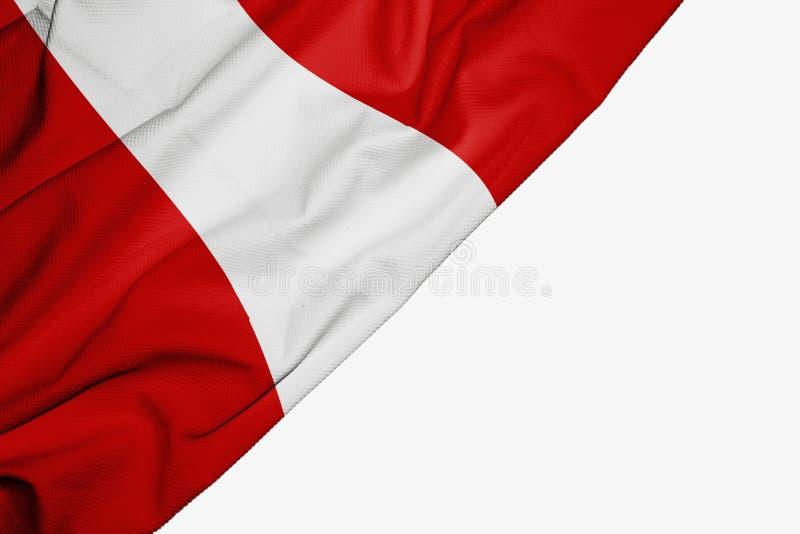 Флаг Перу ткани с copyspace для вашего текста на белой предпосылке бесплатная иллюстрация