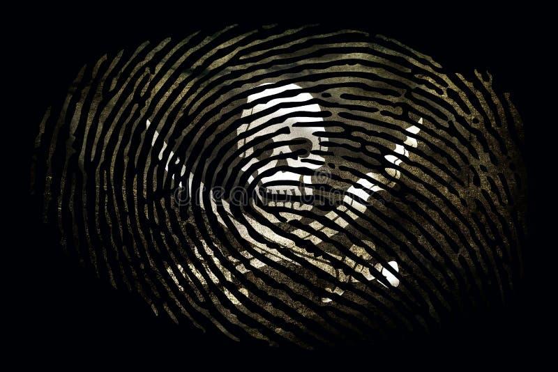 Флаг пиратов в форме отпечатка пальцев на черной предпосылке бесплатная иллюстрация