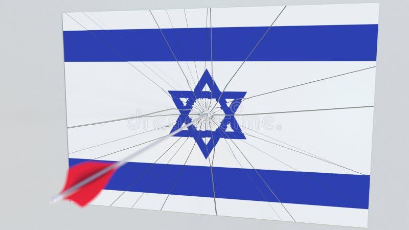 Флаг плиты ИЗРАИЛЯ будучи ударянным стрелкой archery схематический перевод 3d бесплатная иллюстрация