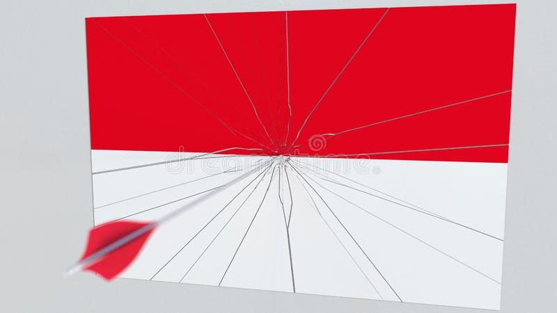 Флаг плиты ИНДОНЕЗИИ будучи ударянным стрелкой archery схематический перевод 3d иллюстрация штока