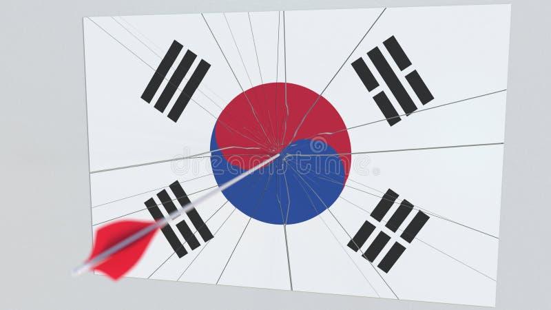 Флаг плиты Южной Кореи будучи ударянным стрелкой archery схематический перевод 3d бесплатная иллюстрация