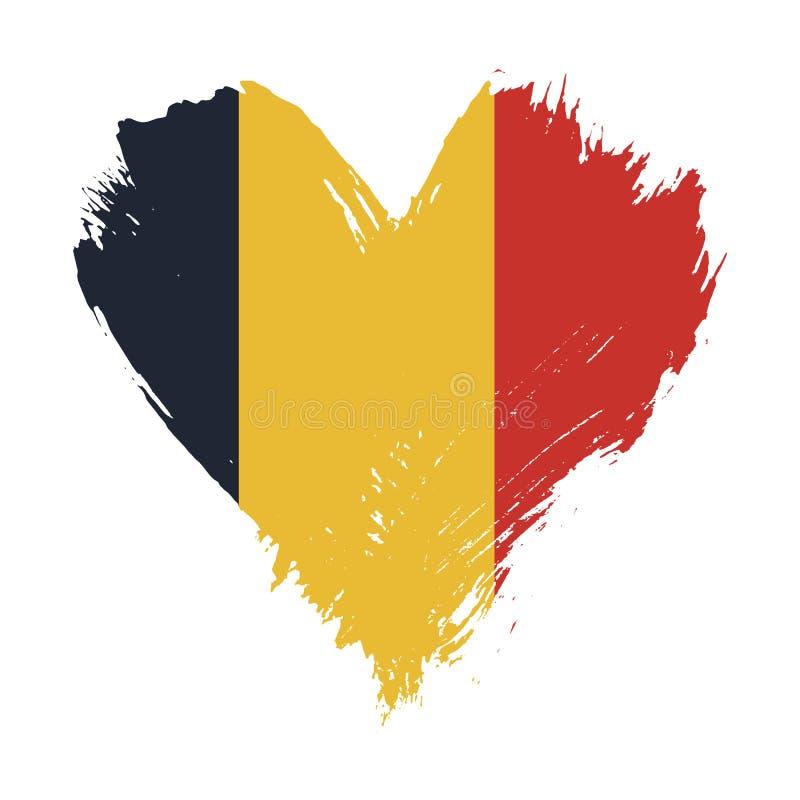 Флаг покрашенный Brushstroke Бельгии иллюстрация штока