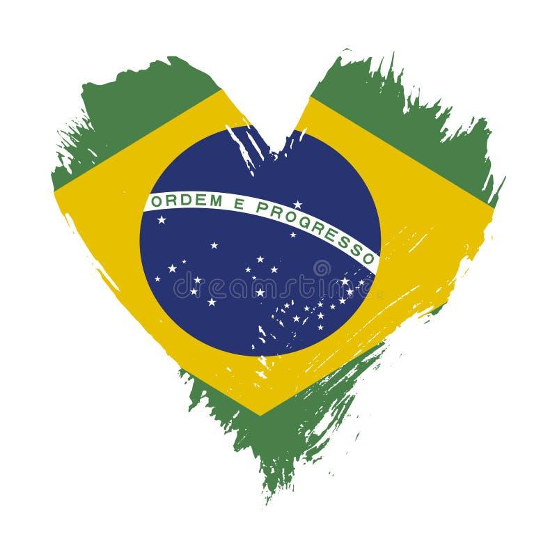Флаг покрашенный Brushstroke Бразилии иллюстрация вектора