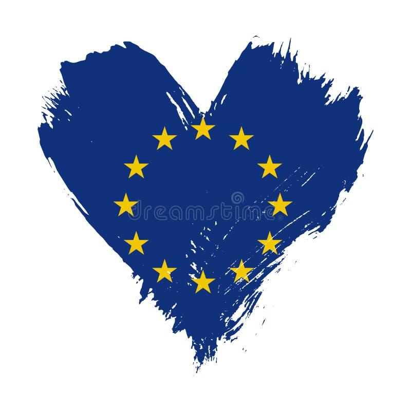 Флаг покрашенный Brushstroke Европейского союза иллюстрация вектора